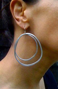 Extra Large Sterling Silver Hoop Earrings Gypsy Chic by rubybliss, $52.00