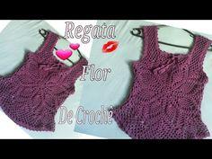 Regata de crochê Flor - YouTube Crochet Summer Tops, Crochet Top, Crochet Barefoot Sandals, Crochet Videos, Bare Foot Sandals, Chrochet, Yarn Crafts, Crochet Clothes, Crochet Patterns