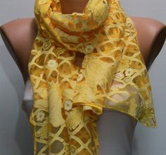 Yellow / Silvery Scarf - Headband  -Necklace Cowl- by fatwoman on Etsy, $9.90