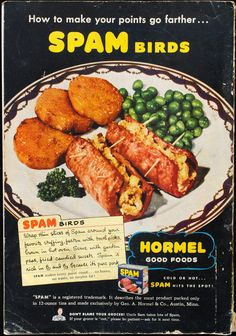 "Spam Birds that I've never tried."" recip meat, spam recip, hormel sp..."