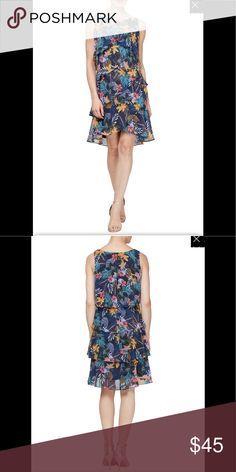75e16b72841c SLNY Floral Tiered Ruffle Dress,Navy/multi,NWT SLNY tiered ruffle dress in