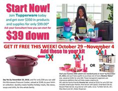 Tupperware Say YES Offer for New Consultants - WOW!! Join Tupperware by Friday November 4th and you will receive the Tupperware Microwave Pressure Cooker for FREE PLUS when you submit $500 in sales credit by Friday November 25th you will get to choose the Tupperware Modular Mate Sets for FREE!!