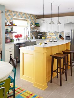 Painting cupboards and cabinets can take a kitchen from blah to wow in a few coats of paint. Choose a fun color and commit it to a kitchen island or piece of furniture waiting to make a statement in your home -- an idea that works especially well if using a neutral shade with just enough attitude.