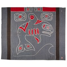 Tlingit button blanket  circa 1930's | From a unique collection of antique and modern native american objects at https://www.1stdibs.com/furniture/folk-art/native-american-objects/