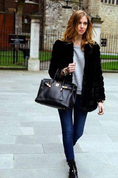 Balenciaga Booties, DL1961 Skinny Jeans, Elizabeth and James Sweater, Storets Faux Fur Coat, Hermes Birkin Bag// her blog is pretty cool.