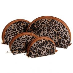 Organized 4-Piece Leopard Print PU Toiletry and Cosmetics Pouch/Bag Set
