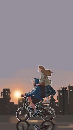 Cute Couple Wallpaper, Anime Scenery Wallpaper, Cute Disney Wallpaper, Cute Cartoon Wallpapers, Sweet Couple Cartoon, Cute Couple Comics, Cute Couple Art, Couple Pics, Cover Wattpad