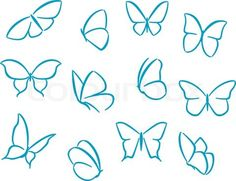 Vector of 'Butterflies silhouettes for symbols, icons and tattoos design'