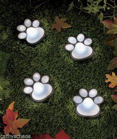 Solar Animal Bear Cat Dog Paw Prints Lighted Paws Garden Yard Art Home Decor New | eBay