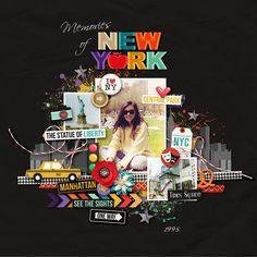 August Bingo challenge - white space layout on a black background  New York New York - Jady Day Studio and Amanda Yi