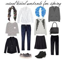 Ideas for Spring travel wardrobe. #travelwardrobe #style #travel