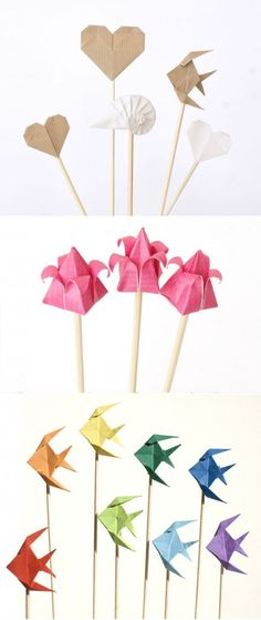 cake toppers2 432x1024 Top with Origami wedding idea Origami Mille Gru di carta cake topper  wedding inspiration wedding food wedding decor 2 inspiration found and beautiful