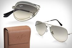RAY-BAN FOLDING AVIATOR SUNGLASSES  Having taken care of the Risky Business-era Tom Cruise crowd with Folding Wayfarers, Ray-Ban is stepping up to cover aspiring pilots and state troopers with these Ray-Ban Folding Aviator Sunglasses ($195). Available in a variety of frame and lens combinations, they collapse down to fit neatly into the included carrying case, leaving more room in your bag for things like flight charts and donuts.