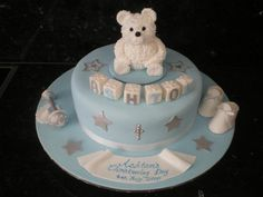 Teddy Bear Theme Cake Decoration Idea for Babies Party Christening Cake Boy, Boy Baptism, Baptism Cakes, Coloring For Boys, Cake Pictures, Cakes For Boys, Baby Party, Cake Creations, Themed Cakes