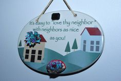 Hanging Wall Plaque Ceramic Sign  Easy To by GinasCornerCrafts