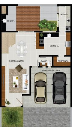 Residencial Cristo Rei | MTK 3d House Plans, Dream House Plans, Small House Plans, Village House Design, Village Houses, Zen Design, Loft Design, 1000 Sq Ft House, Apartment Plans