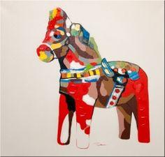 Painting Dala horse 80*80cm
