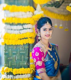 Looking for South Indian Bride in Blue and Pink Saree? Browse of latest bridal photos, lehenga & jewelry designs, decor ideas, etc. on WedMeGood Gallery. South Indian Weddings, Big Fat Indian Wedding, Indian Bridal Wear, South Indian Bride, Indian Wedding Outfits, Kerala Bride, Royal Weddings, Indian Wear, Indian Outfits