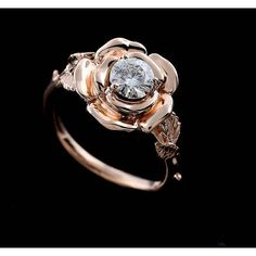 Layaway Plan Rose Flower Engagement Ring, Hand Carved Leaves Accent... (255 CAD) ❤ liked on Polyvore featuring jewelry, rings, 14k rose gold ring, rose wedding ring, leaf engagement ring, pink gold engagement rings and rose flower ring