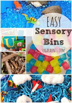 EASY Sensory bins for learning and play through sensory exploration.