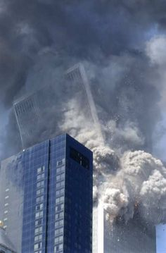The beginning of the collapse of the World Trade Center