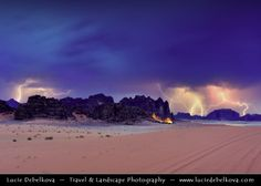 Jordan - Wadi Rum - UNESCO World Heritage Site - Dramatic storm with Lightning by Lucie Debelkova -  Travel Photography - www.luciedebelkova.com on 500px