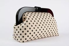 Clutch purse with resin frame  Glittering black dots by octopurse, $73.30