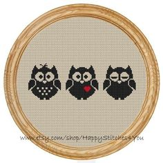 Cross Stitch Pattern PDF bird owl silhouette por HappyStitches4You