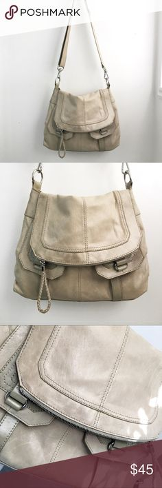The Sak Messenger Bag Taupe/Putty genuine leather 4-compartment messenger bag.  Perfect neutral color, in excellent used condition.  One tiny blemish on interior fabric, see pic. Bags Shoulder Bags