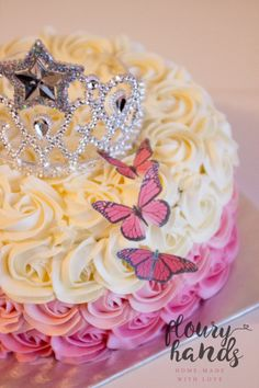 Pink ombre rosette butterfly princess tiara cake