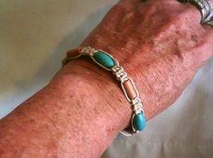 """Free shipping. Boho, hippie style hemp, wood, and turquoise magnesite macrame unisex bracelet. 7""""-9"""" by BohoChicByDenise #jewelry"""