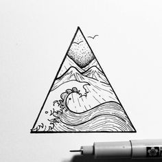 #Triangle #Tattoo #Sketch #Wave Drawing, Idea, Image, Mountain - Photo by @blackworkillustrations - Follow #extremegentleman for more pics like this!