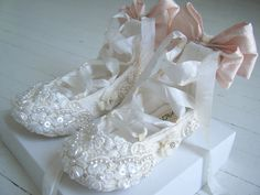 Lace Baby Shoes Ivory Lace ShoesFlower Girl Shoes by BobkaBaby. $150.00, via Etsy.