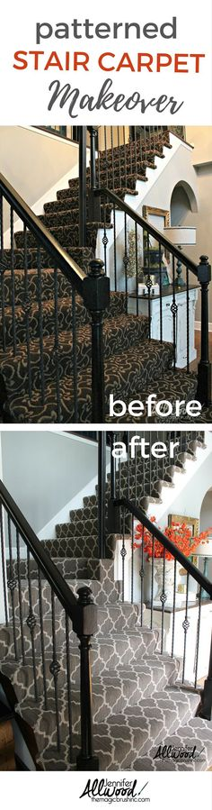 Staircase Idea - Before & After. Here's my gray patterned stair carpet makeover. I chose a modern gray arabesque to replace the brown gold carpet. More DIY home projects, paintings tips and design advice at theMagicBrushinc.com