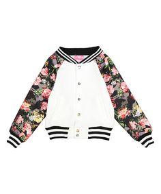 Look what I found on #zulily! Girls Luv Pink White Rose Fleece Jacket - Kids & Tween by Girls Luv Pink #zulilyfinds