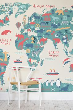 Create a world of wonder right within your child's bedroom! This dazzling world map mural encompasses playful characters with a beautiful colour palette. It's perfect for modern nurseries and playrooms too!