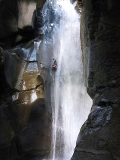 Huge rappel in the French Alps #canyoning  Photo: Happy Tracks