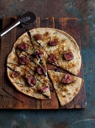 Pizza bianco with caramelised onions, blue cheese, figs and balsamic