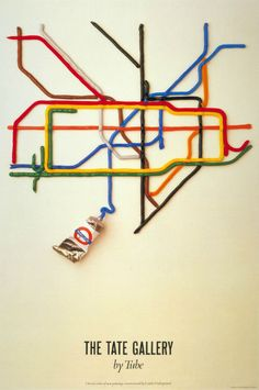 The Tate Gallery by tube by David Booth. [It is the best-selling Underground poster of all time.]