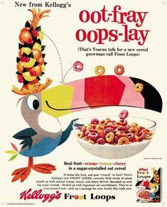 Image: Kelloggs Vintage Tin Sign: Fruit Loops  pig latin