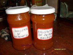 Reteta culinara Gem de pepene galben si rosu din categoria Dulceata / Gem. Cum sa faci Gem de pepene galben si rosu Ketchup, Preserves, Pickles, Salsa, Food And Drink, Jar, Canning, Drinks, Sweets