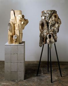 Plug and Shell, 2000  wood, steel and cement   - Mel Kendrick