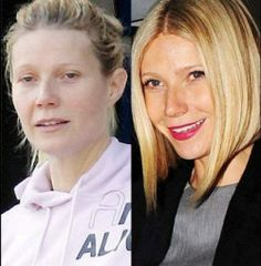 Female celebs with and without makeup. Gwyneth Paltrow