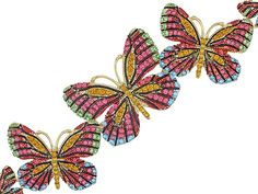 Off Park (R) Collection Multicolor Crystal Gold Tone Butterfly Bracelet Butterfly Bracelet, Blue Crystals, Gifts For Mom, Brooch, Gemstones, Bracelets, Earrings, Pink, Gold