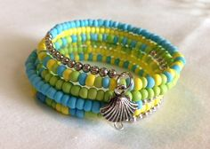 Turquoise, Green, Yellow & Silver Memory Wire bracelet with a Seashell charm - summer inspired