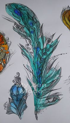 My Zen Mode: Zen Feathers - Pen and Ink and watercolor Feather Art, Feather Tattoos, Feather Drawing, Doodles Zentangles, Zentangle Patterns, Zen Doodle, Doodle Art, Art Aquarelle, Tangle Art