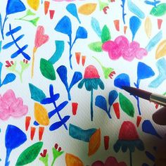 Working in a new watercolor pattern. Watercolor Pattern, Surface Design, Pattern Design, Quilts, Blanket, Instagram Posts, Handmade, Rhinos, Gatos