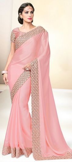 196749 Pink and Majenta color family Embroidered Sarees,Party Wear Sarees in Faux Georgette,Satin fabric with Cut Dana,Thread,Zari work with matching unstitched blouse.