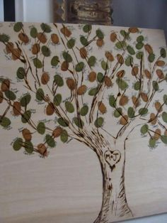 Finger print tree guest book. This would be fun to do as a family tree at a family reunion or get together. Put parents as the trunk, siblings and their offspring as the leaves on branches, and grandparents are roots. That would give a more complete family tree..