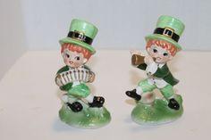 Pair of Vintage Irish Leprechaun figurines by Lefton – St. Patrick's Day